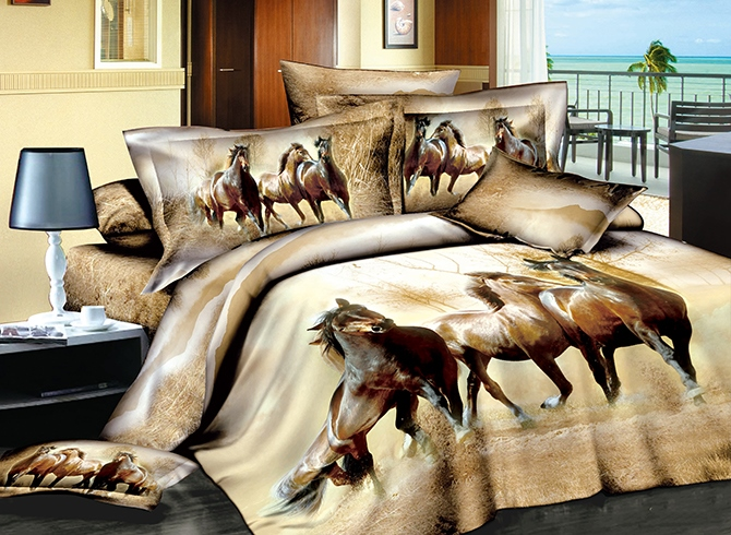 Vivilinen Three Running Horses Print Brown 4-Piece Cotton Duvet Cover Sets