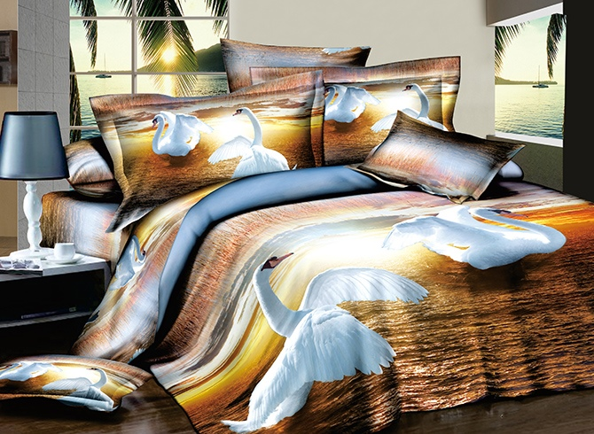 Fluttering White Swans Printed Cotton 3D 4-Piece Bedding Sets/Duvet Covers