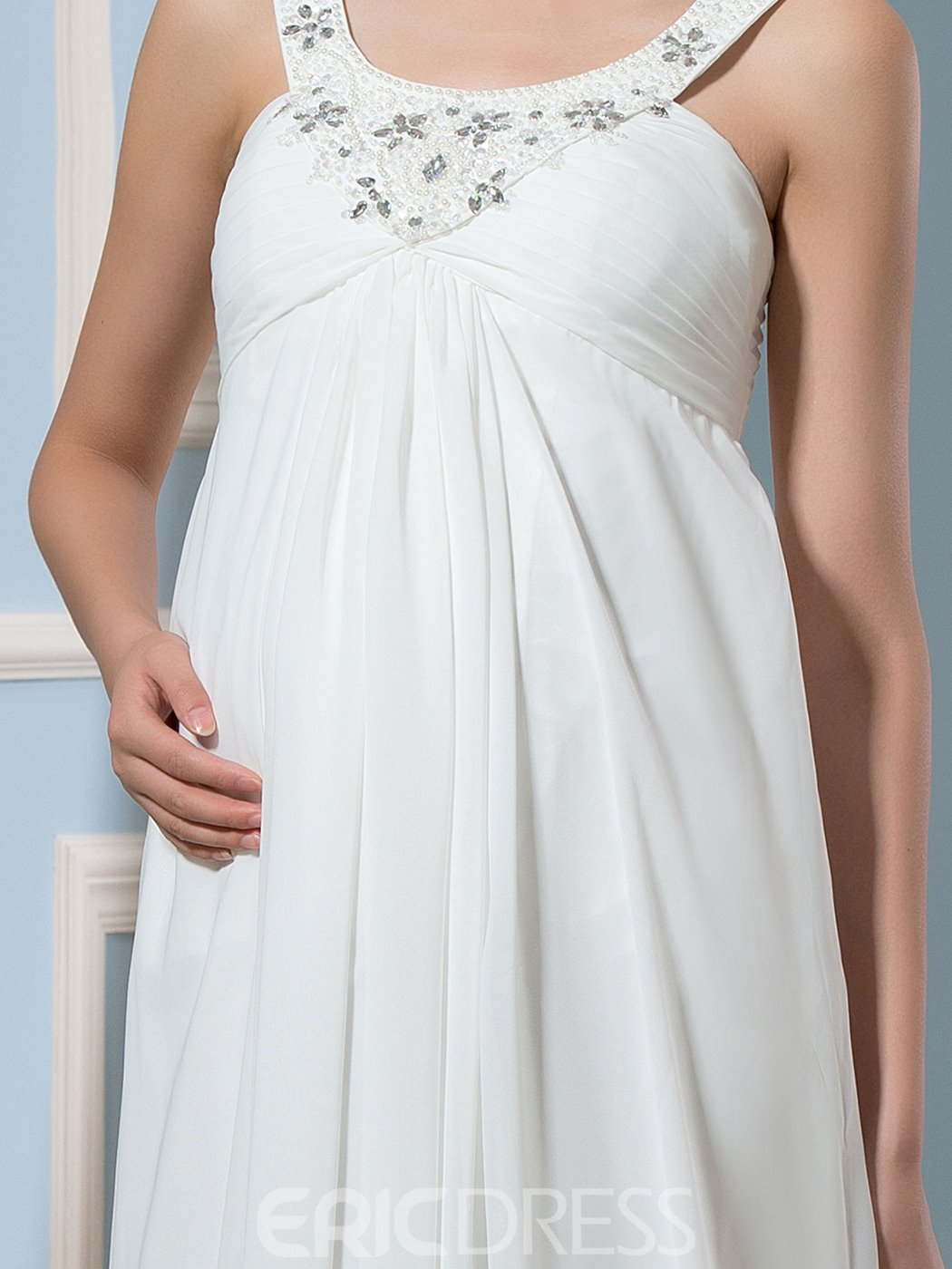 Ericdress Beautiful Beading Straps Maternity Dress