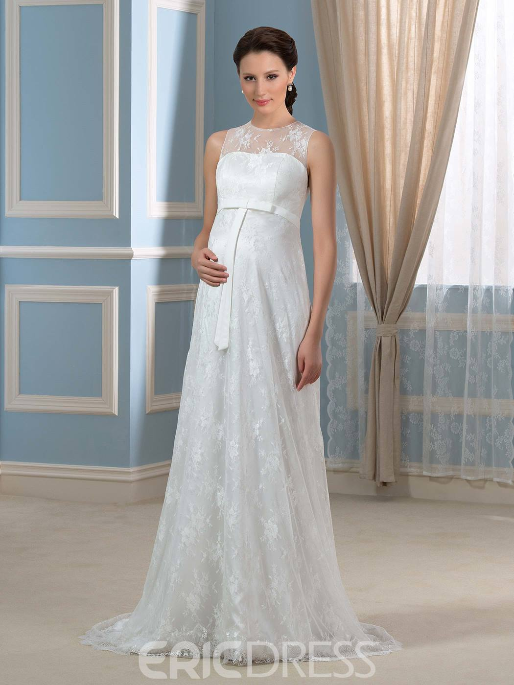 Ericdress Jewel Neck Sashes Lace Maternity Wedding Dress