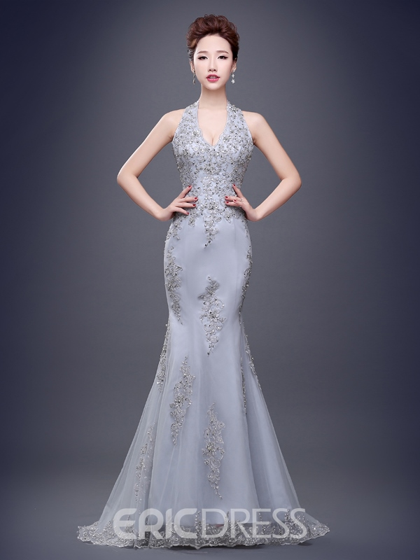 Ericdress Halter Appliques Beading Court Train Evening Dress