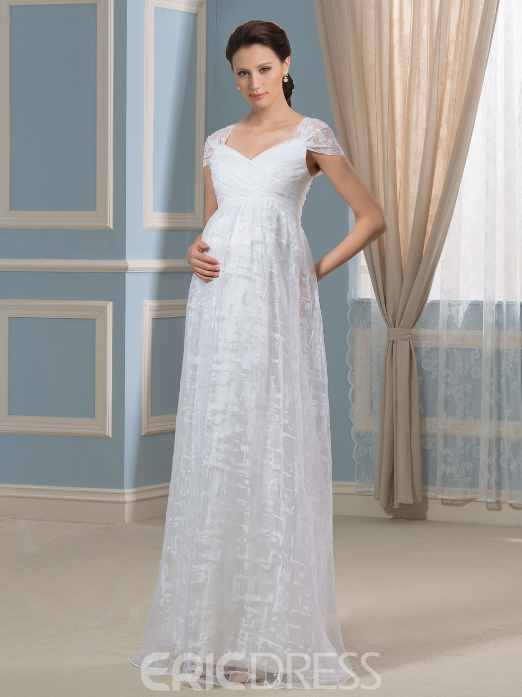 Ericdress Comfortable Cap Sleeves Lace Maternity Wedding Dress