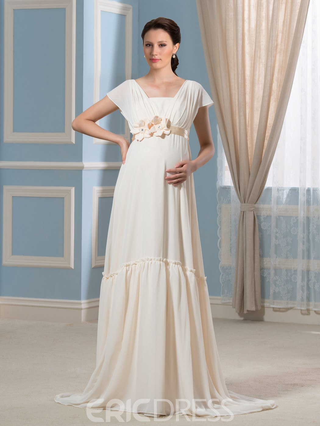 Ericdress Beautiful Flowers Maternity Wedding Dress