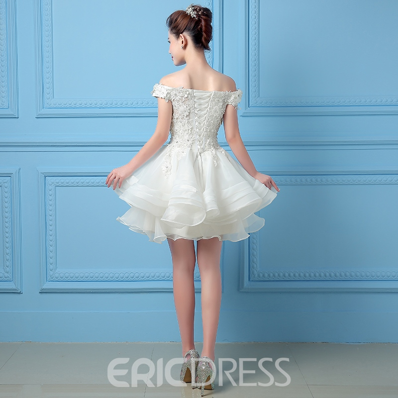 Ericdress encaje rebordear encaje barco cuello Falbala Homecoming Mini vestido de ganchillo