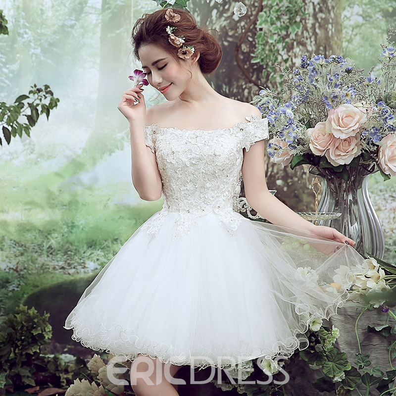 Ericdress Lace Embroidery Beading Boat Neck Lace-up Short-sleeves Ball Gown Mini Homecoming Dress