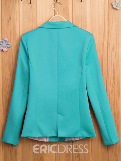 Ericdress Simple Notched Lapel One-Button Blazer
