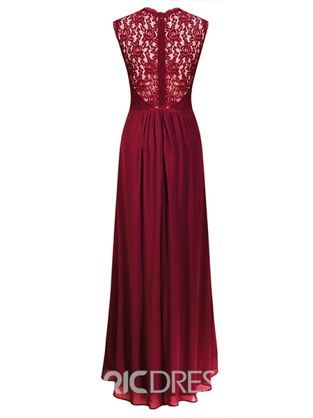 Ericdress Lace Patchwork Bowknot Expansion Maxi Dress