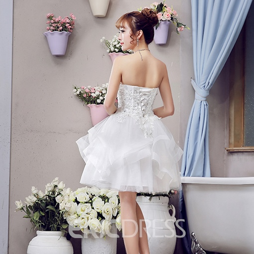Ericdress Lace Sequins Beading Strapless Ball Gown Lace-up Mini Homecoming Dress