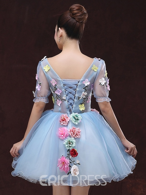Ericdress Appliques V-neck Lace-up Short Sleeves Ball Gown Mini Homecoming Dress