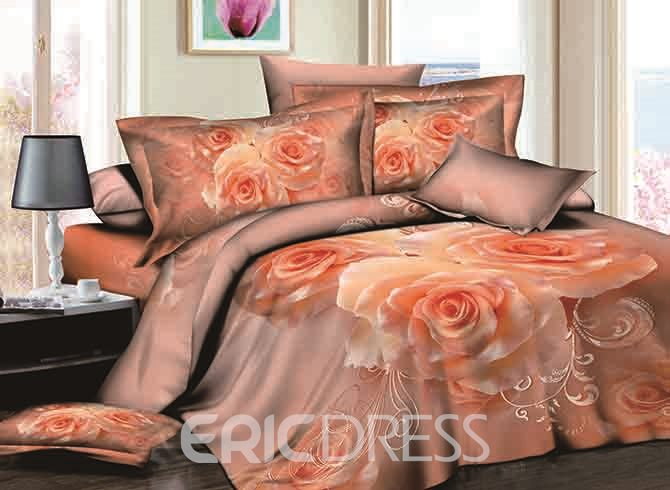 Vivilinen 3D Apricot Rose Printed Cotton 4-Piece Bedding Sets/Duvet Covers