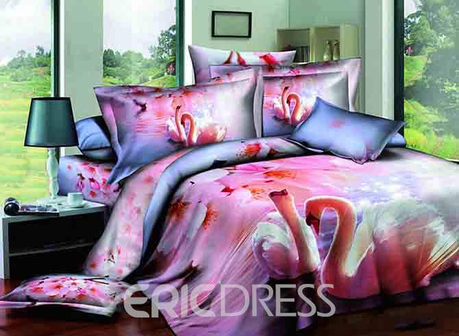 Swan and Pink Peach Blossom Printed Cotton 3D 4-Piece Bedding Sets/Duvet Covers