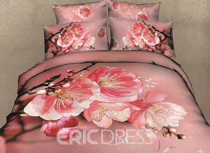 Vivilinen 3D Pink Peach Blossom and Bud Printed Cotton 4-Piece Bedding Sets/Duvet Covers