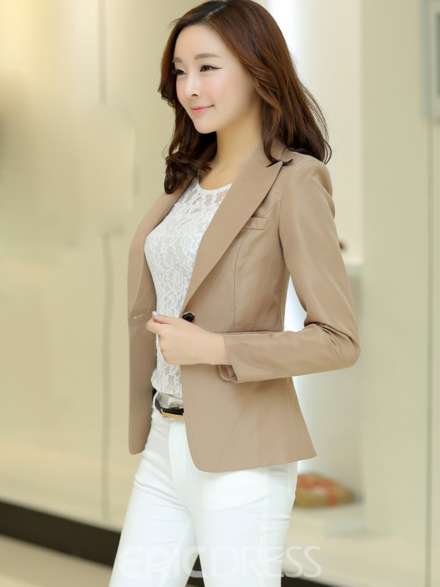 Ericdress Solid Color One-Button OL Blazer