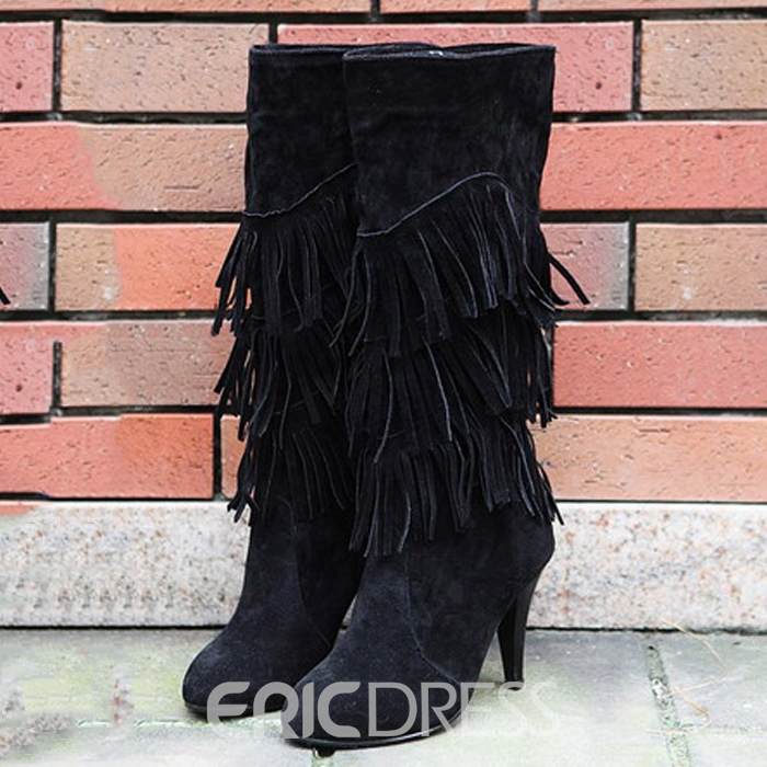 Ericdress Suede Knee High Boots with Tassels