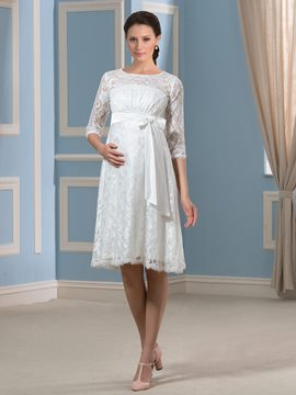 Ericdress Sashes Knee Length Lace Maternity Wedding Dress