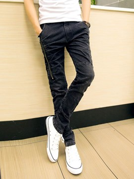 Ericdress Casual Style Pleated Zip Design Haren Denim Men's Pants