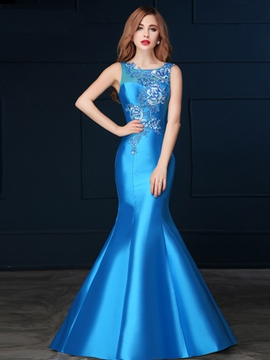 Ericdress Scoop Mermaid Appliques Long Evening Dress