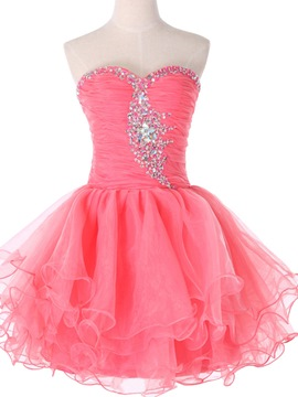 Ericdress A-Line Sweetheart Beaded Ruches Short Homecoming Dress