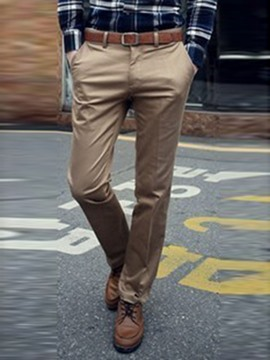 Ericdress Solid Color Casual Straight Cotton Blend Men's Pants