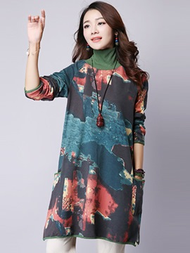 Ericdress Print Turtleneck Casual Dress