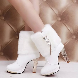 Ericdress Elegant Furry & strass Chunky Heel Boots