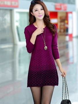 Ericdress Dot Round Neck Sweater Dress