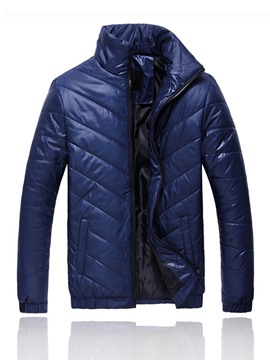 Ericdress Solid Color Zip Thicken Waterproof Warm Winter Men's Coat
