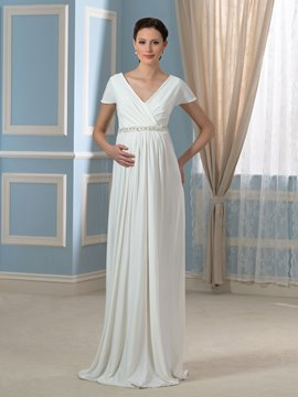 Ericdress Short Sleeves Beading Lace Maternity Wedding Dress
