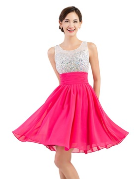 Ericdress A-Line Beaded Ruches Short Homecoming Dress