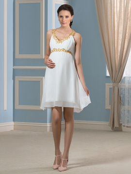 Ericdress Beautiful Beading Short Maternity Dress