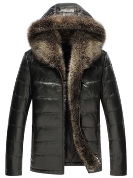 Ericdress Hooded Faux Fur Collar PU Zip Men's Jacket