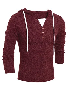 Ericdress Solid Color Lace-Up Hooded Pullover Men's Sweater
