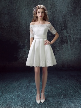 Ericdress Lace Hem Off Shoulder Middle Sleeves Lace-up A-line Short Homecoming Dress