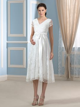 Ericdress V Neck Short Sleeves Lace Maternity Wedding Dress