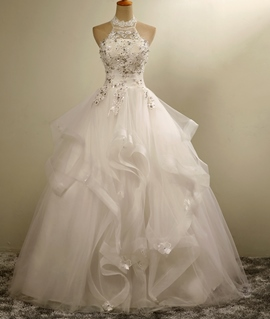 Ericdress Floor-Length High Neck Sleeveless Ball Gown Church Wedding Dress