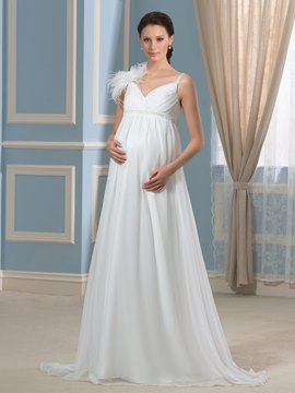 Ericdress Pretty V Neck Beadings Chiffon Maternity Wedding Dress