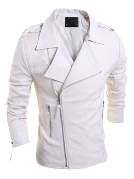 Ericdress Solid Color Slimming Oblique Zip Men's Jacket