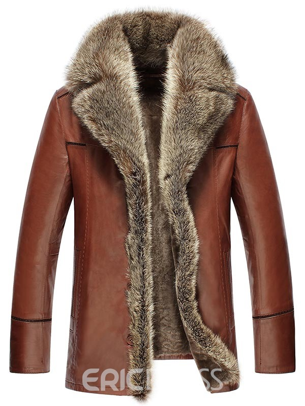Ericdress Thicken Faux Fur Collar Single-breasted Luxury Mens Pu Jacket