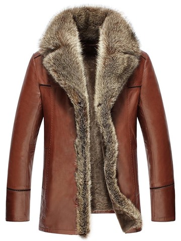 Ericdress Thicken Faux Fur Collar Single-Breasted Luxury Men's PU Jacket