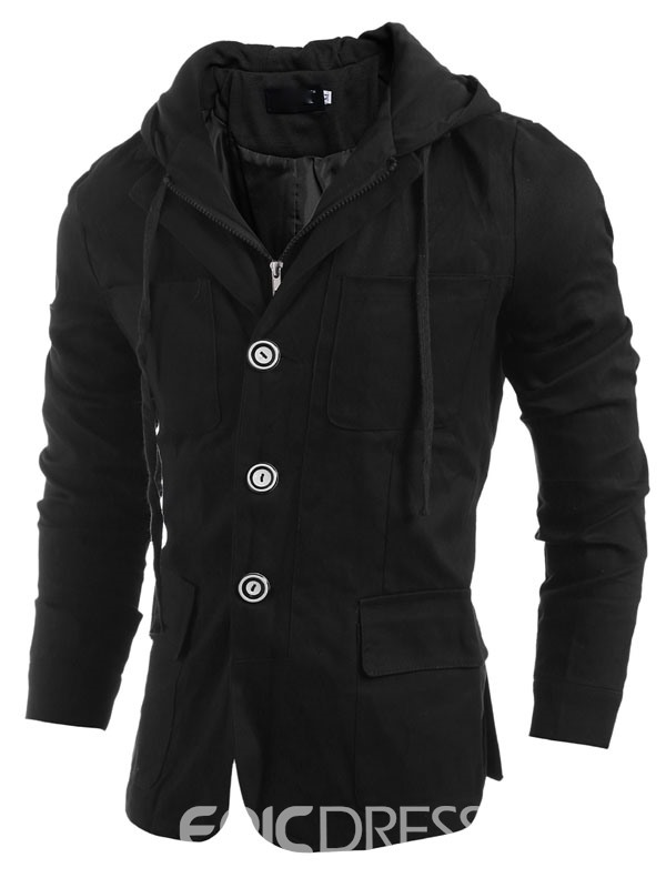 Ericdress Solid Color Zip And Buttons Double-layer Hooded Mens Jacket
