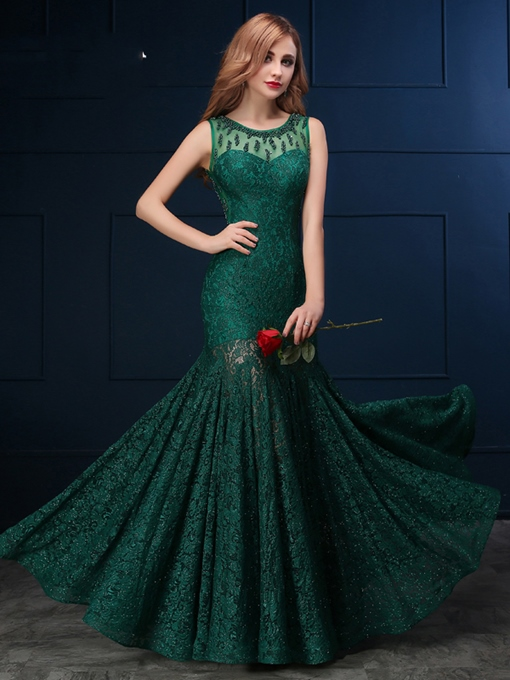 Ericdress Delicate Scoop Neck Beaded Lace Mermaid Evening Dress