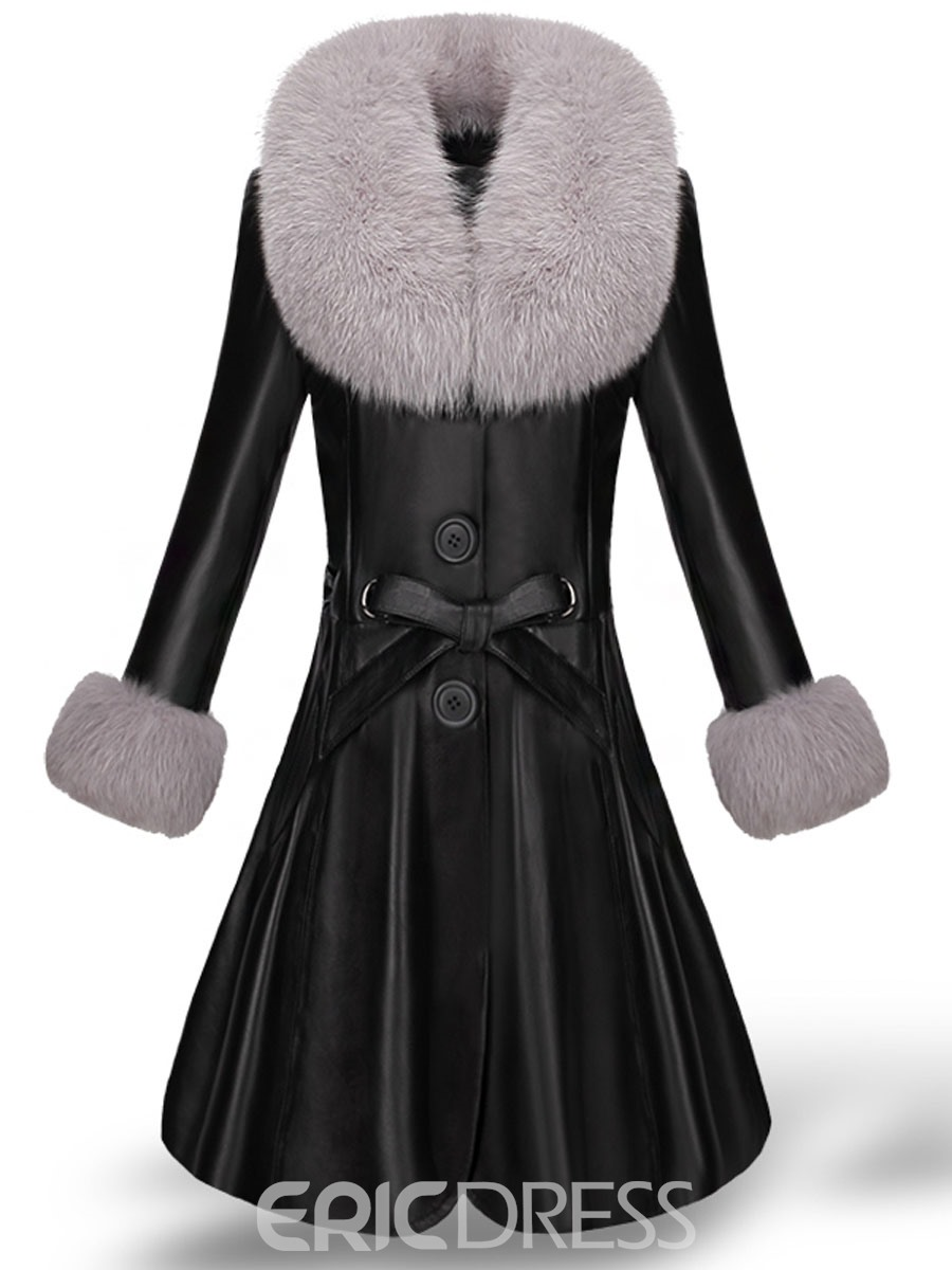 Black Single-Breasted Luxury Faux Fur Coat