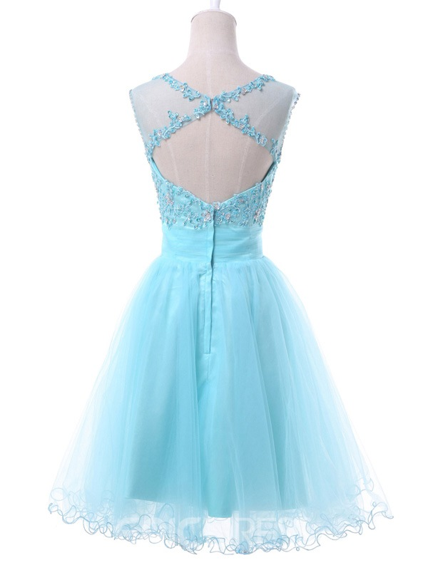 Ericdress A-Line Round Neck Appliques Mini Homecoming Dress