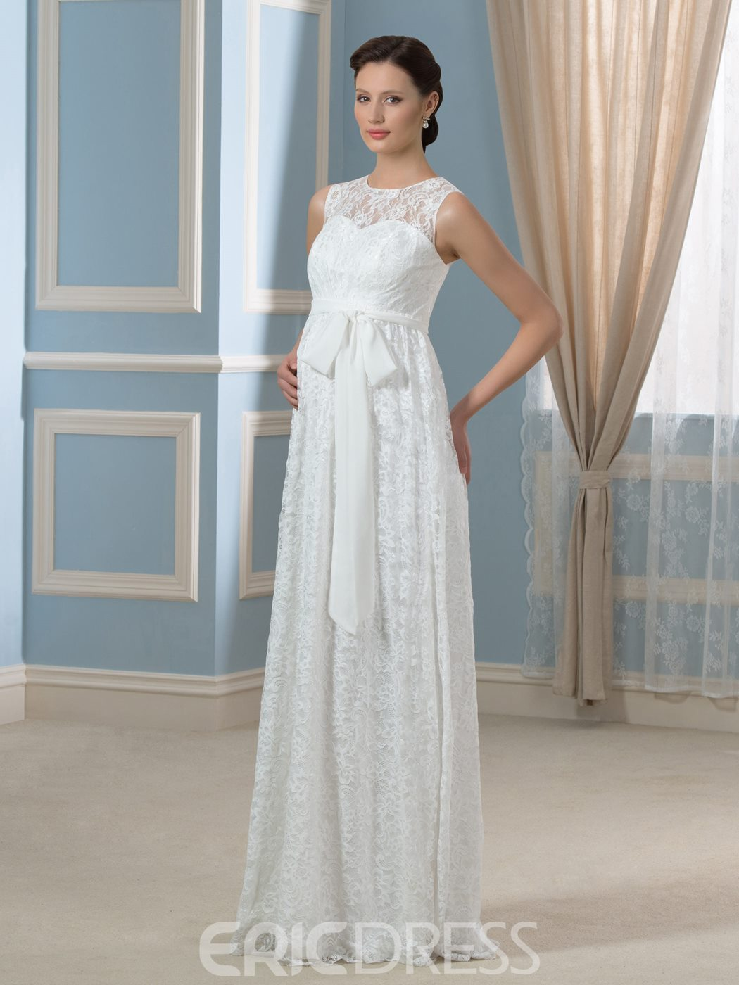 Ericdress Amazing Jewel Sleeves Lace Maternity Wedding Dress