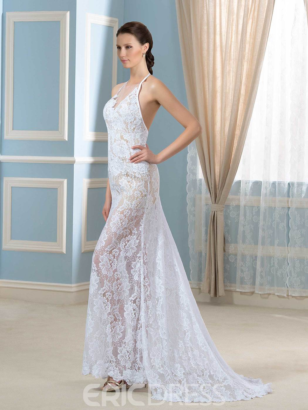 Ericdress Sexy Halter Lace Mermaid Wedding Dress