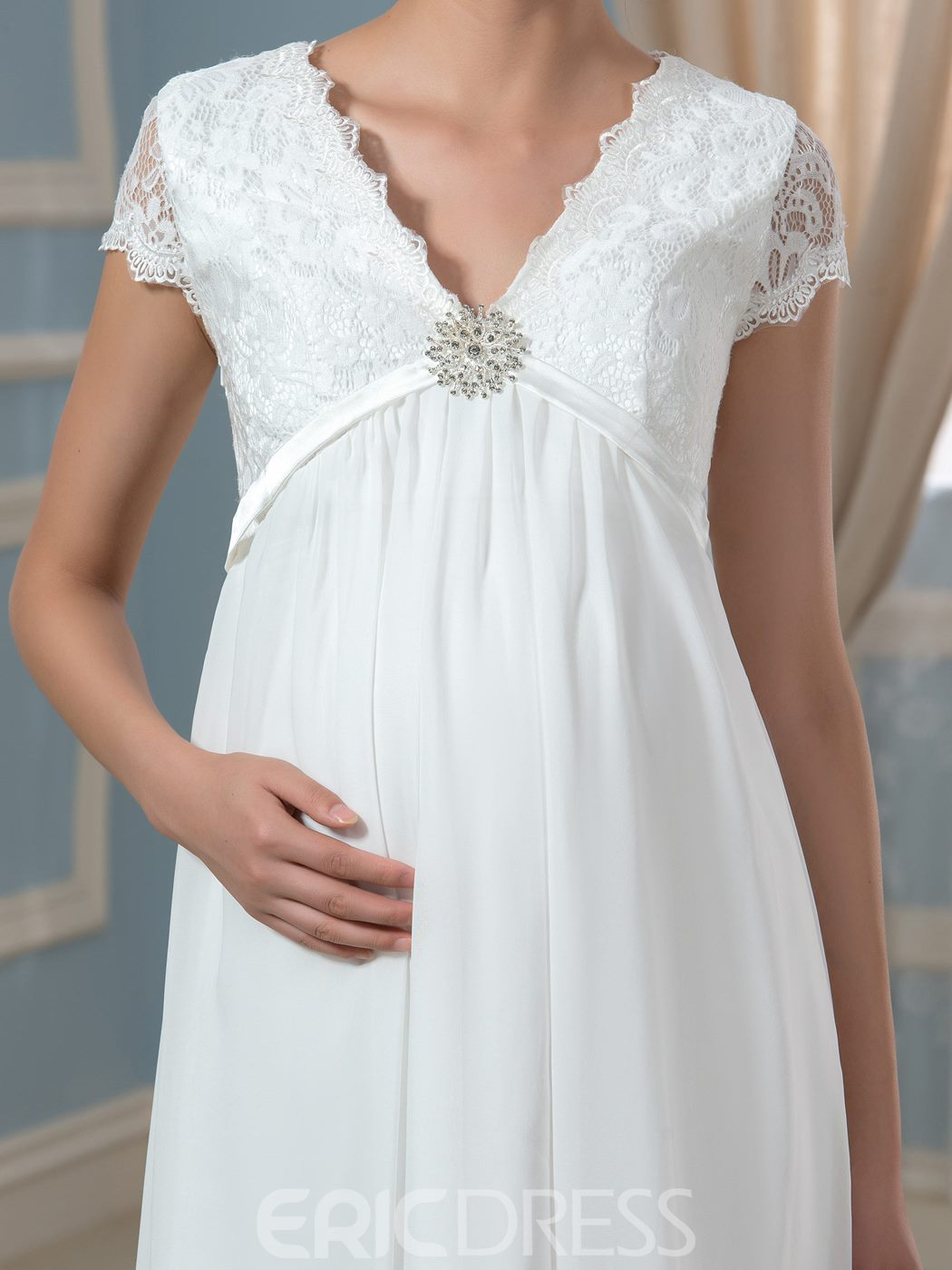 Ericdress Pretty V Neck Short Sleeves Lace Chiffon Maternity Dress