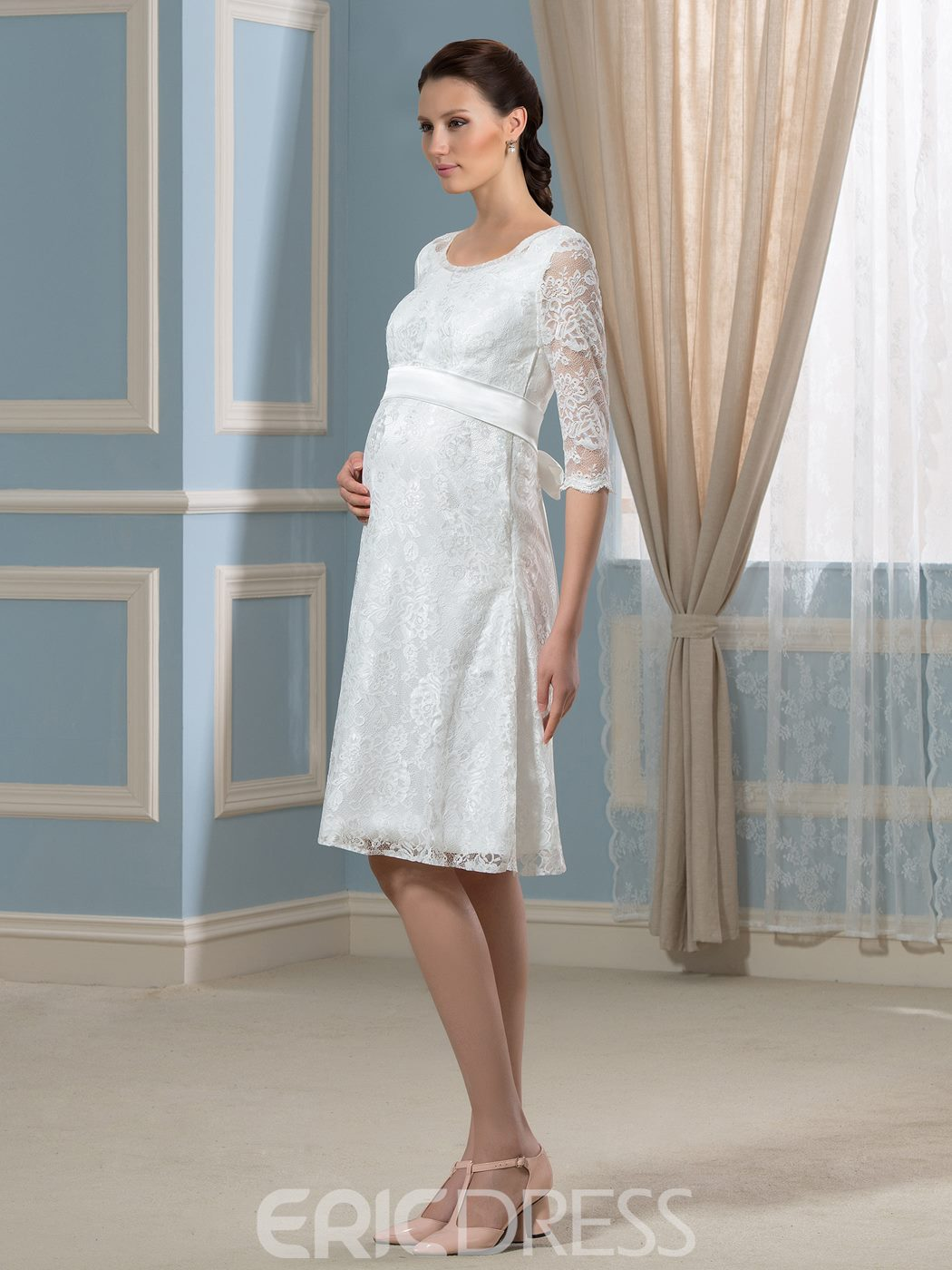 Ericdress Pretty Scoop Knee Length Lace Maternity Dress
