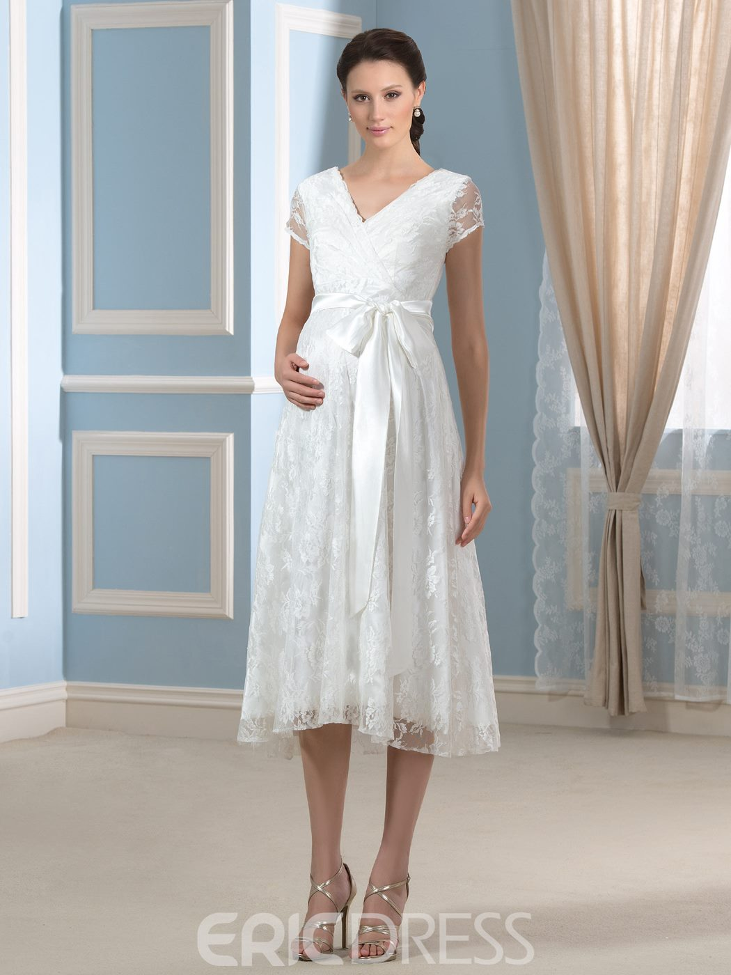 Ericdress Beautiful V Neck Short Sleeves Lace Maternity Wedding Dress