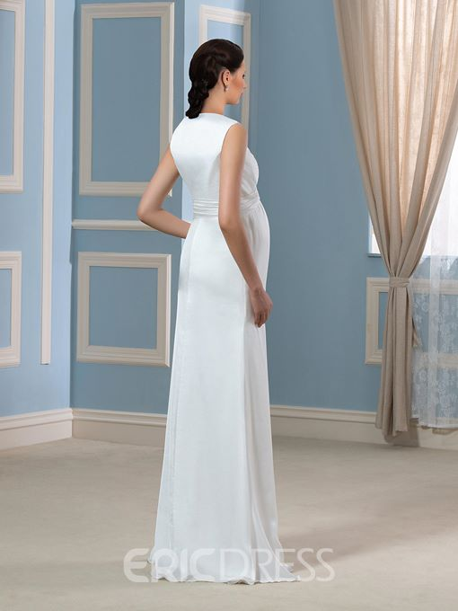 Ericdress Eleagant V Neck Sheath Cloumn Maternity Wedding dress