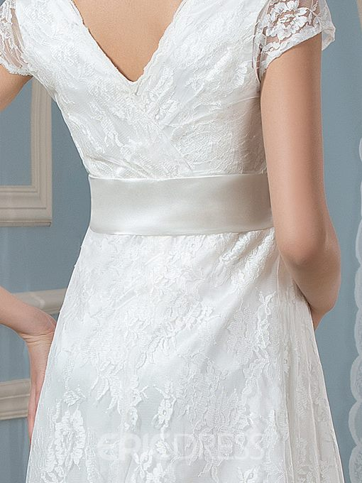 Ericdress Short Sleeves Tea Length Lace Maternity Wedding Dress